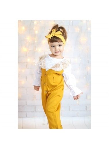 Quzucuk Kids Kız Çocuk Tulumlu Sarı Takım Sarı